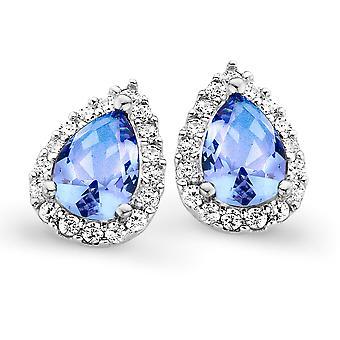 Orphelia Silver 925 Earring Drop Blue Topaz Color Zirconium  ZO-7226/BT