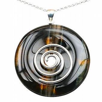 Large Multi Tigers Eye Healing Crystal Pendant with Silver Hoop and Silver Chain