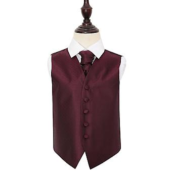Burgundy Greek Key Wedding Waistcoat & Cravat Set for Boys