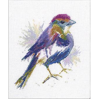 Blue Feather Counted Cross Stitch Kit-5.75