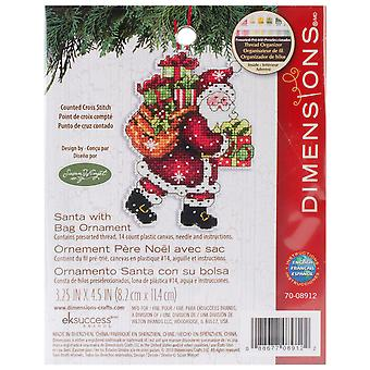Susan Winget Santa W/Bag Ornament Counted Cross Stitch Kit-3.5