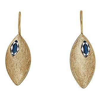 Gemshine - Damen - Ohrringe - Ohrhänger - 925 Silber - Vergoldet - Marquise - Minimalistisch - Design - Iolith - Blau - 3 cm