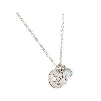 GEMSHINE necklace cat, paw, chalcedony 925 silver, gold plated, rose pet