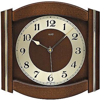 rustikale Wand Uhr Wanduhr Funk Mineralglas Massivholz nussbaumfarben