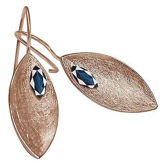 Damen - Ohrringe - Ohrhänger - 925 Silber - Rose Vergoldet - MARQUISE - Iolith - Blau - 3 cm