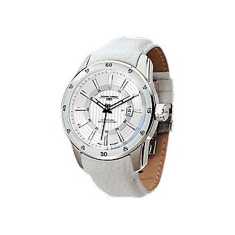 Mens JG9800-23 Stainless Steel Watch White Dial Leather Strap - Jorg Gray