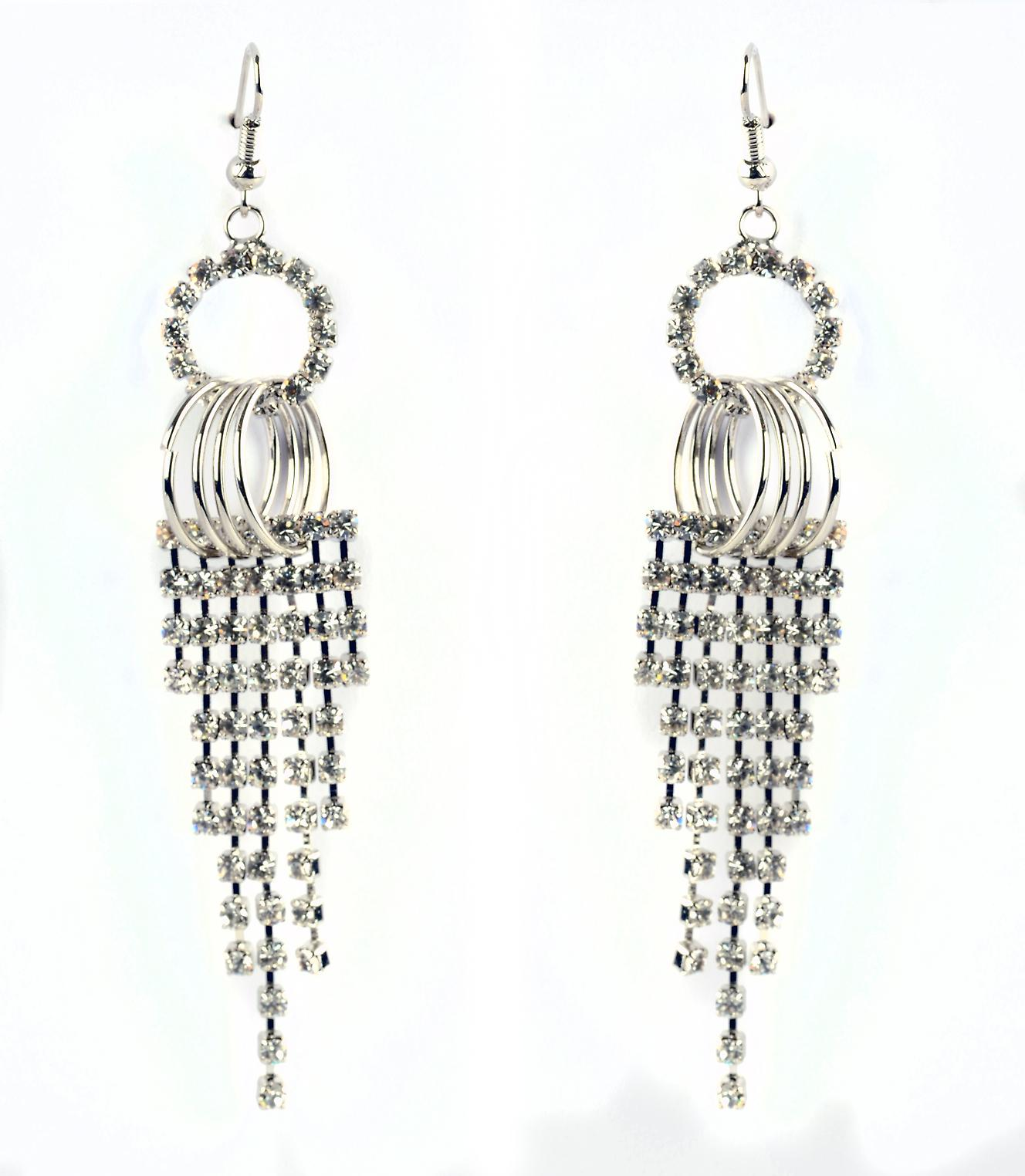 Waooh - Fashion Jewellery - WJ0737 - D'Oreille Strass Swarovski Earrings with White Diamond style - Frame Colour Silver