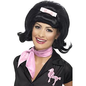 Corta peluca colmena negro, encendió Bob peluca de los años 50, accesorio de disfraces