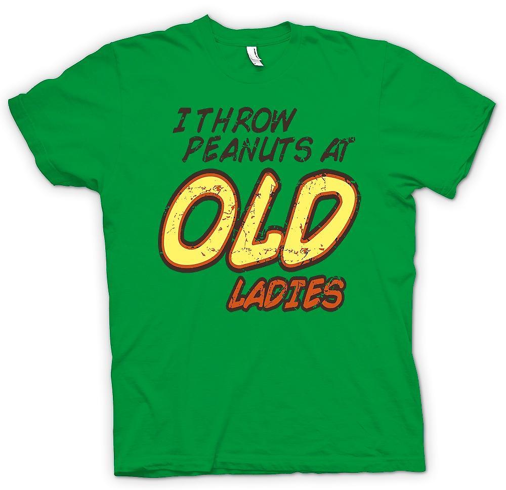 Mens-T-shirt - Ich werfe Erdnüsse an alte Damen - zufällige Funny