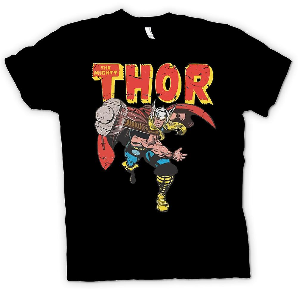 Womens T-shirt - The Mighty Thor Throwing Hammer - Superhero