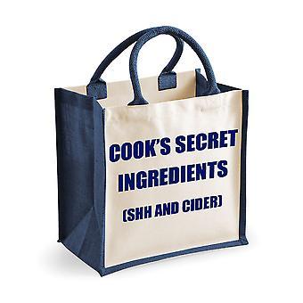 Middels Jute Bag Cooks hemmelige ingredienser (hysj og Cider) marineblå Bag