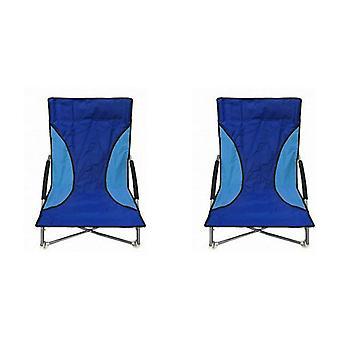 2 Blue Nalu Folding Low Seat Beach Chairs