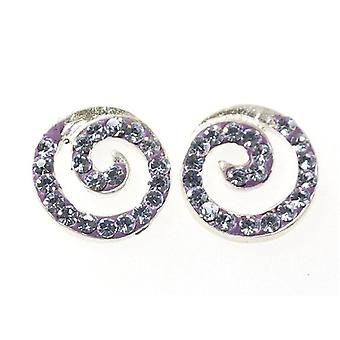 TOC Sterling Silver Lilac Crystal Spiral Stud Earrings 10mm