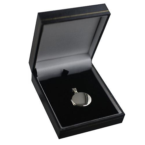 9ct White Gold 20mm plain flat round Locket