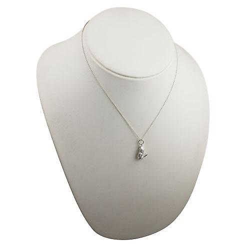 Silver 18x10mm solid Rabbit Pendant with a rolo Chain 18 inches