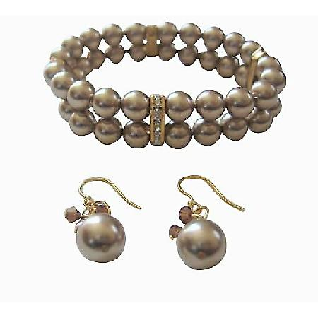 Double Strands Swarovski Bronze Pearls Stretchable Bracelet Earrings