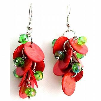 Fabulous Cute Earrings Christmas Gift Red Shell Green Beads