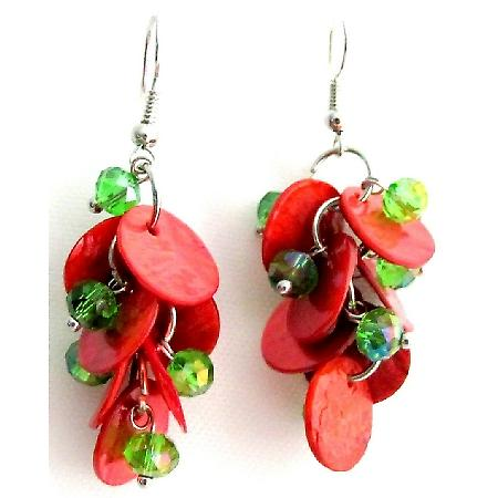 Fabulous Cute Earrings Christmas Gift Red Shell Green Beads