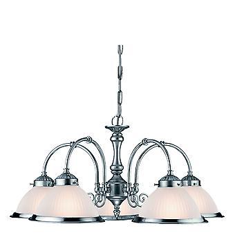 Amerikansk Diner Satin sølv fem Light vedhæng med syre ribbede glas - projektør 1045-5