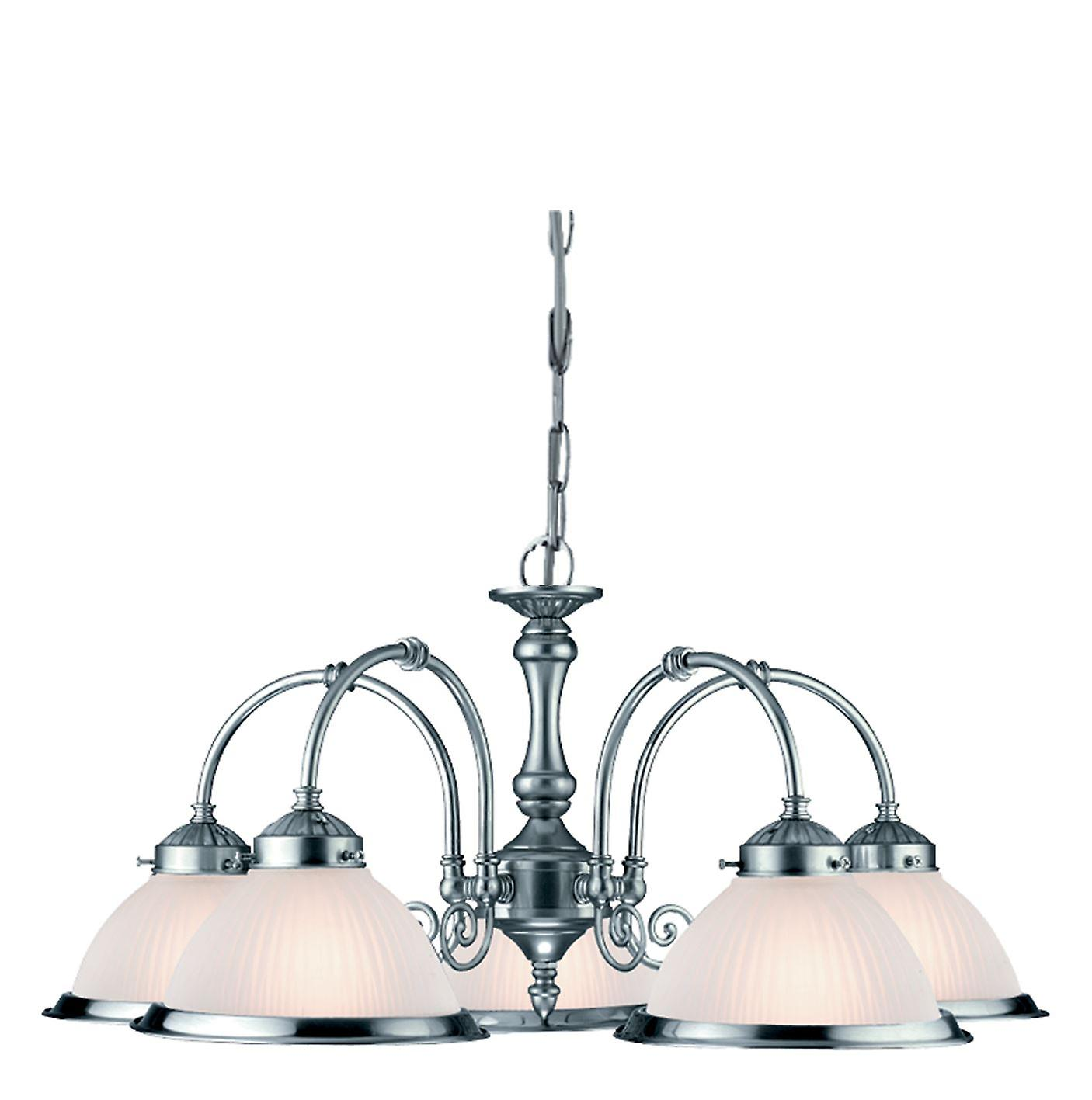 American Diner Satin argent Five Light Pendant With Acid Ribbed Glass - Searchlight 1045-5