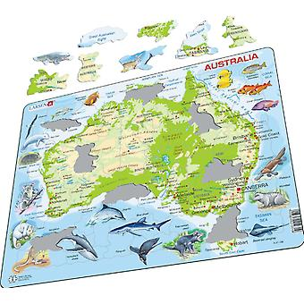 Map of Australia With Animals- Frame/Board Jigsaw Puzzle 29cm x 37cm (LRS A31-GB)