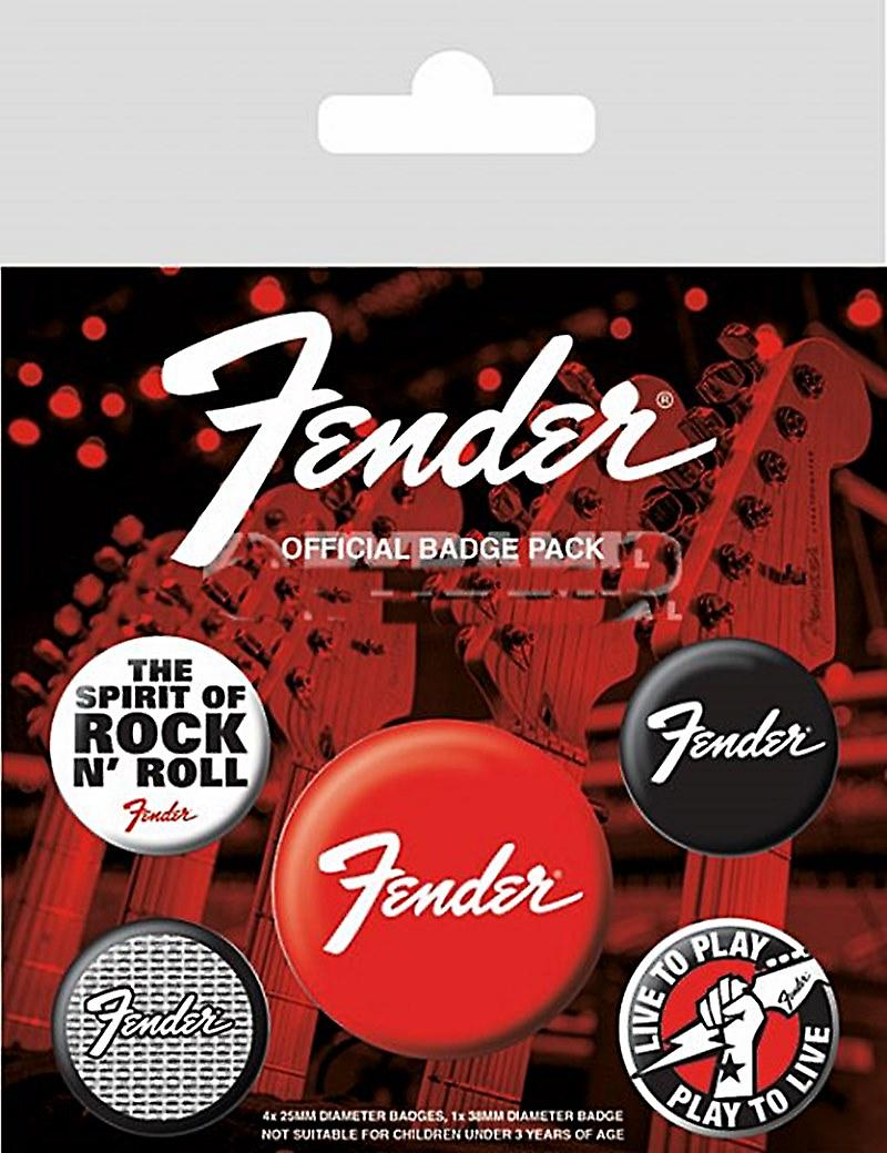 Fender Guitars 5 round Pin Badges in Pack (py)