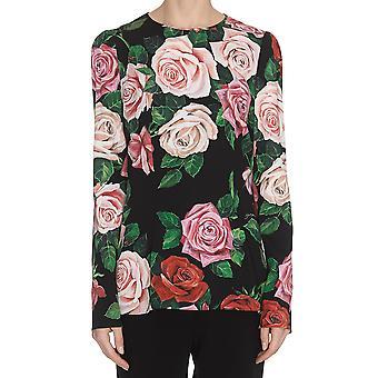 Dolce E Gabbana Black/pink Silk Top