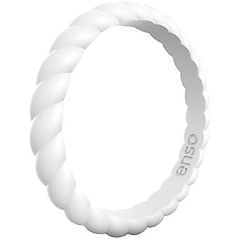 Enso Rings Braided Stackables Series Silicone Ring - White