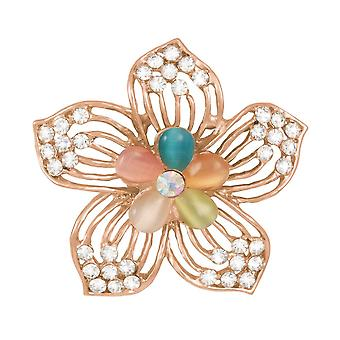 Eternal Collection Florella Cat's Eye And Crystal Filigree Scarf Clip