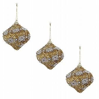 Deluxe Glitter Christmas Tree Bauble Gold Silver Flower Pack of 6 Tear Drop (513054GT)