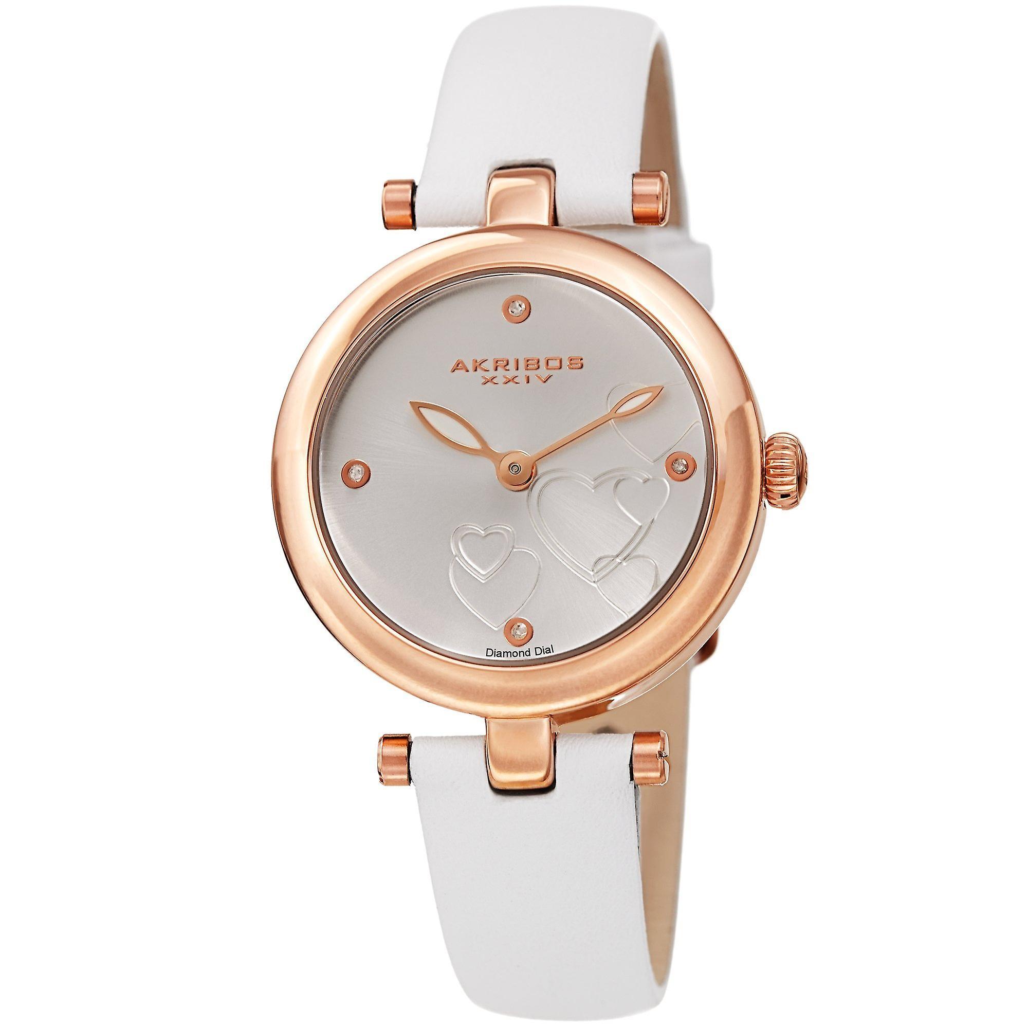 Akribos XXIV AK1044WTR Heart Embossed Diamond Marker Leather Strap Watch