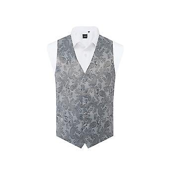 Dobell Mens grigio Paisley gilet Regular Fit-3XL (54-56in)