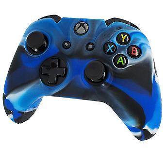 Housse de protection en silicone souple Pro avec poignée côtelée Camo bleu-Xbox One