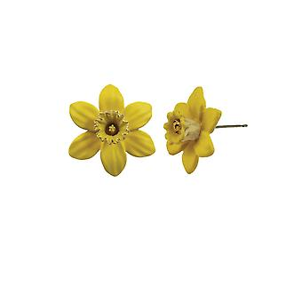 Eternal Collection Daffodil With Trumpet Yellow Enamel Petite Silver Tone Stud Pierced Earrings