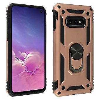 Samsung Galaxy S10e Case Bi Material Rigid Soft Magnetic Ring Stand Rose gold