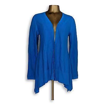 H di Halston Women's Maglione Maglione a maniche lunghe Hem Aqua Blue A303195