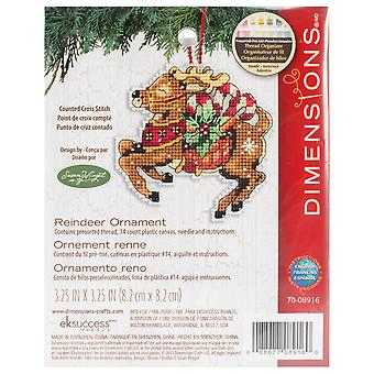 Susan Winget Reindeer Ornament Counted Cross Stitch Kit 3 3 4