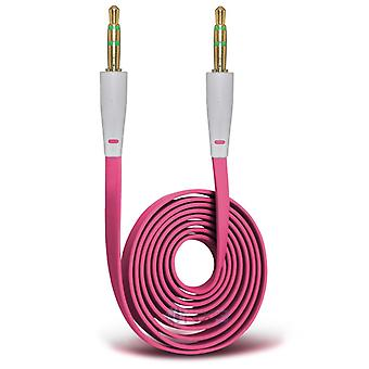 Samsung Galaxy A3 Gold Plated 3.5mm Jack To Jack Connection Aux Auxiliary Audio Flat Cable (Hot Pink)