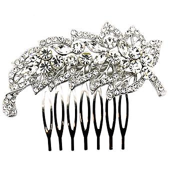 Antique Silver & Crystal Side Leaf Hair Comb