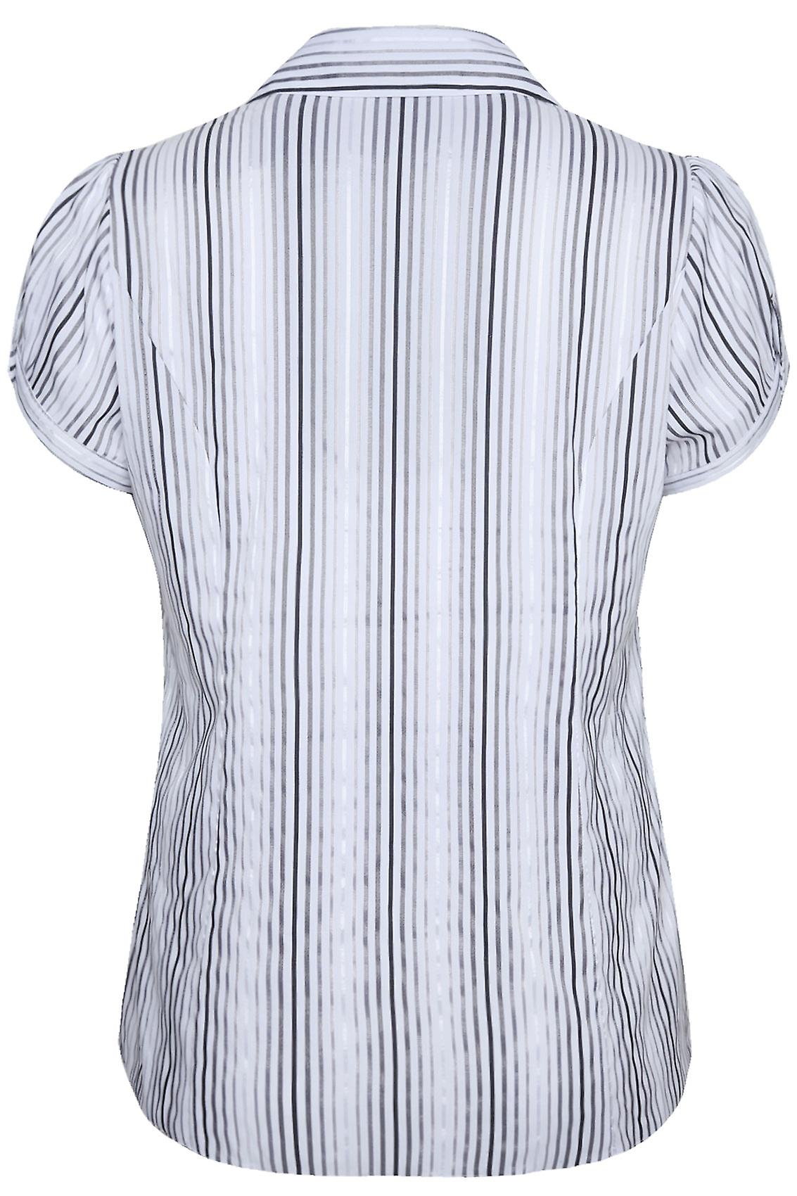 White And Black Striped Shirt With Ruching Detail