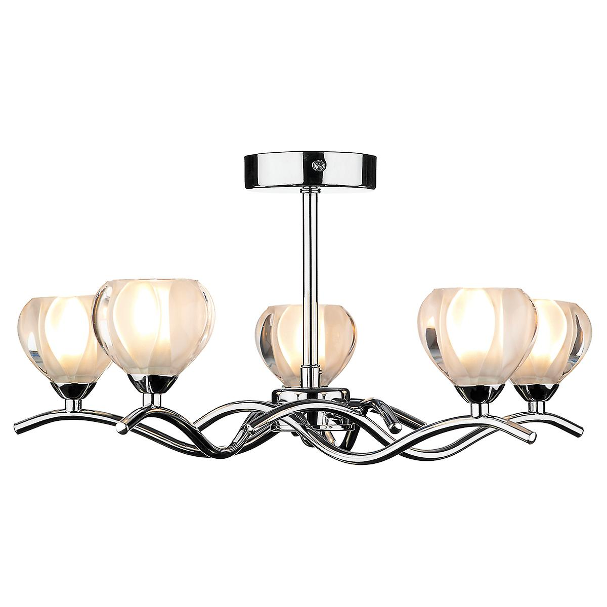 Dar CYN0550 Cynthia Modern Chrome 5 Arm Semi-Flush Ceiling Light With Glass