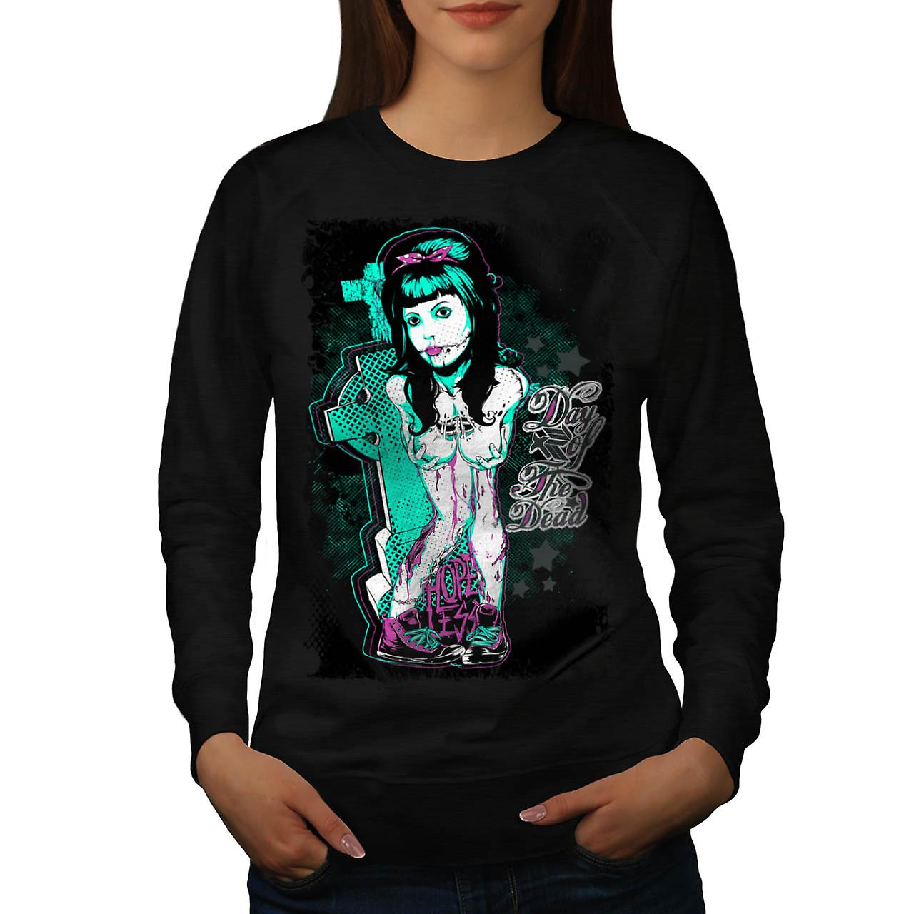 Day of The Dead Girl Hopeless Women Black Sweatshirt | Wellcoda