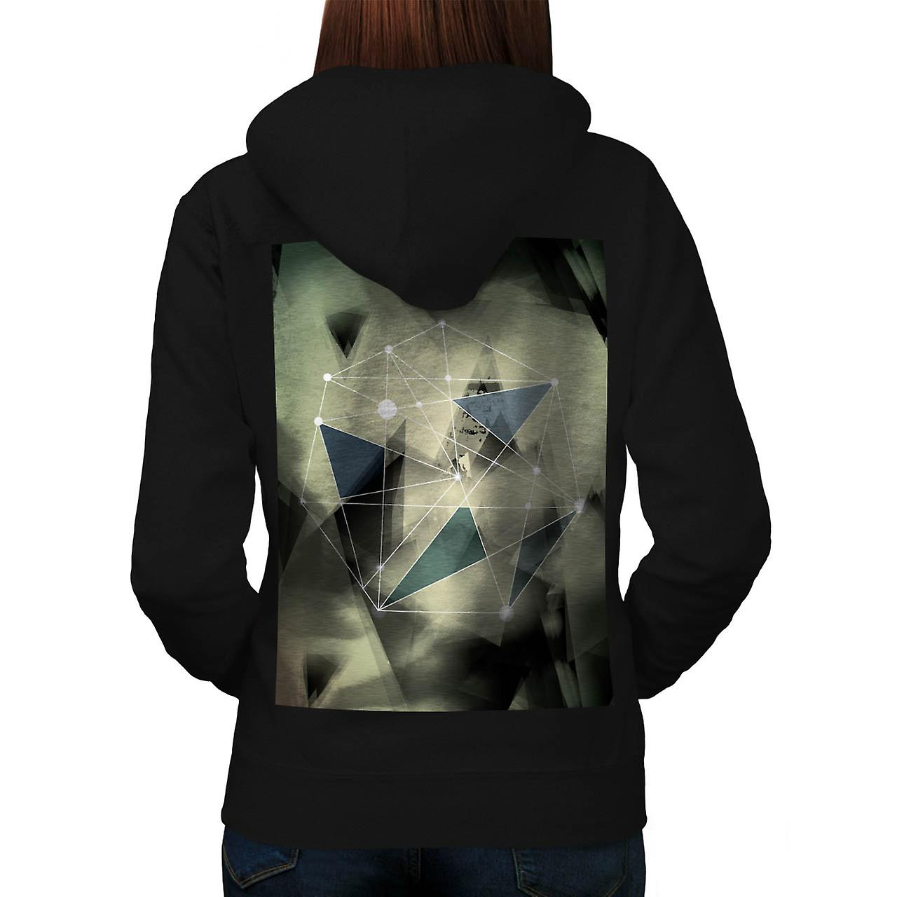 Crazy Abstract Print Geometric Women Black Hoodie Back | Wellcoda