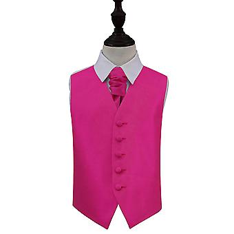 Boy's Fuchsia Pink Solid Check Wedding Waistcoat & Cravat Set