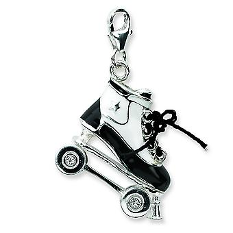 Sterling Silver Moveable Rhodium-plated 3-d Enameled Roller Skatew Lobster Clasp Charm - Measures 30x22mm