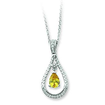 Sterling Silver November Cubic Zirconia Necklace - 18 Inch