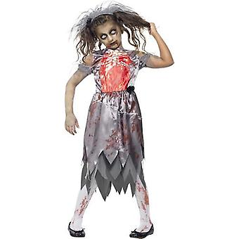 Smiffys-Fancy Dress kostuum Zombie bruid bruiloft bloedige Childrens Halloween
