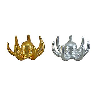 Coppia di polpo in ceramica placcata oro e argento gioielli anello porta