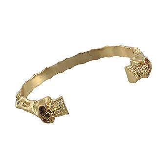 Polished Goldtone Finish Skulls and Bones Torc Bracelet Cuff