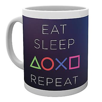 PlayStation comer dormir repetir taza